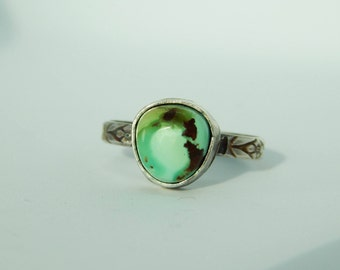 Turquoise Stacker Ring, Size 9.5, Sterling Silver, Flower Band