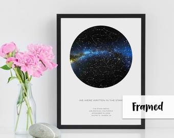 Personalized Gift | Custom Star Map | 12x16 FRAMED POSTER | REAL Night Sky | Custom Star Poster | Constellation Map | Unique Gift