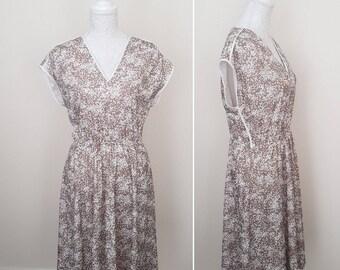 Vintage Ladies 90s Dress Size M/L Medium Large 12 14 16 Cream Brown Day Dress