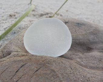 "Genuine Perfectly smoothed flawless Deep White Round Sea Glass piece-Size 1.2""-Rare Sea Glass-Pendant size Sea Glass#J112#"