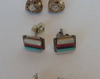 Four pairs of Stud Earrings