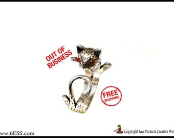 Sterling Sliver Adjustable Cat Ring,Cat Chasing Tail Ring,Cat Jewelry,Kitty Cat Ring,Pet Cat ring,Cat Lover Gift,Pet Jewelry