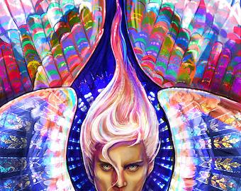 Angel Art Print, Angel Rampel Fantasy Art Print, Beautiful Angel Art Print, Guardian Angel Art, Fantasy Angel Art, Stained Glass Angel