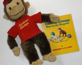 "Vintage Curious George plush by Toy Network & Curious George ""Goes To The Hospital"" book"