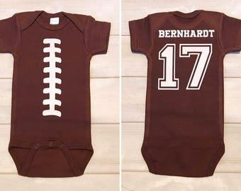 FOOTBALL infant bodysuit/ Superbowl bodysuit/ baby football bodysuit/ football season bodysuit