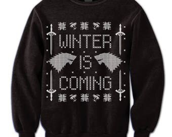 Funny Winter. Game of Thrones Fan Sweatshirt. Sweater. Winter Is Coming. Pullover. Wolf. Sword. Winterfell. Ugly Sweater. Party. Contest.