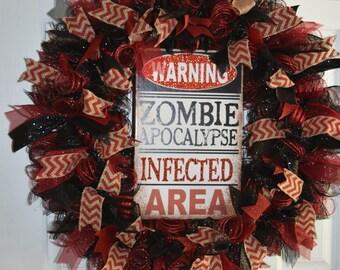 Zombie Apocalypse Warning, Happy Halloween Wreath, Red & Black, Halloween, Black Friday