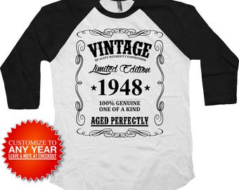 70th Birthday TShirt Bday T Shirt Personalized Gift Ideas Custom Year B Day B-Day Vintage 1948 Birthday Aged Perfectly Raglan Tee - BG370