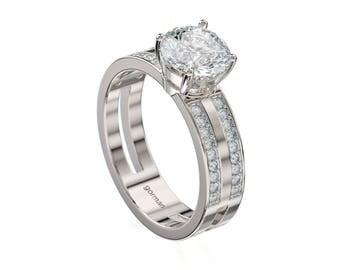 Classic 14K White Gold 1.5 Ct White Sapphire Diamond Engagement Ring G1157-14KWGDWS