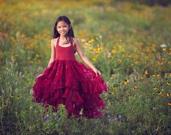 Princess Dress, Twirl Dress, Girls Couture Dress, Flower Girl Dresses, Hi Low Dress, Hi Lo Dress, Boho Rustic Burgundy Maxi Dress