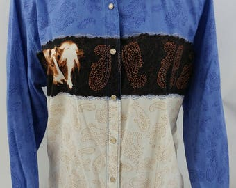 Wrangler Pearl Snap Shirt, Women's Large, Horses and Paisley, Long Sleeve, Vintage Western