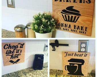 6 funny kitchen signs set, 12x12, bridal shower gift, housewarming gifts, they see me rollin, bakers gonna bake, chop it like its hot