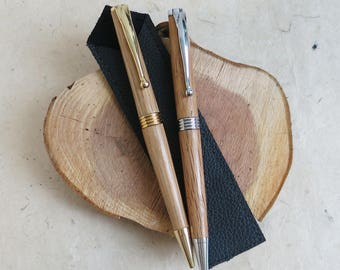 Emley Recycled Whiskey Oak Barrel Handmade Ballpoint Pen in brass/chrome