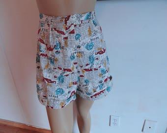 Vintage Handmade Highwaisted Patterned Shorts - Unique Design, Neighborhood Theme, Size 6