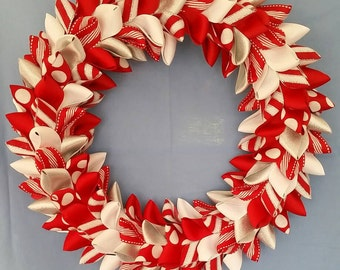 Red White and Silver Ribbon Wreath