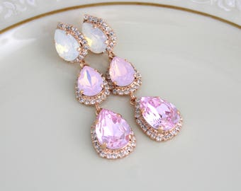 Bridal earrings, Wedding earrings, Bridal jewelry, Crystal earrings, Pink Opal earrings, Swarovski crystal earrings, Chandelier earrings