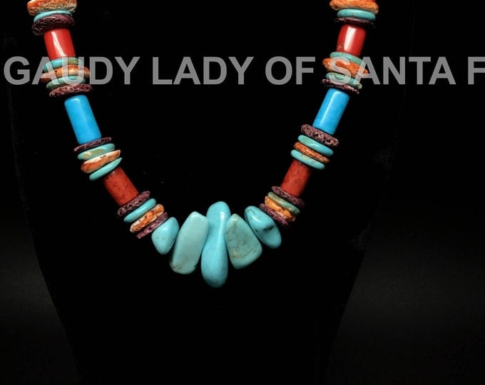 Coral Turquoise Colored Stone Necklace #4D