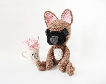 Crochet Fawn Mix French Bulldog – stuffed animal toy, handmade to order