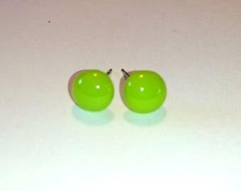fuse glass Spring Green Stud Earrings