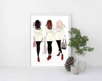 """Burberry Besties - Prints - 8""""x10"""" - Various Sizes - Wall Art - Burberry Scarf - Burberry Trench Coats - Louboutins - Best Friends"""