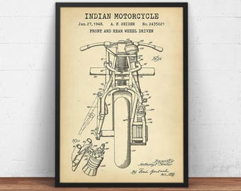 Indian Motorcycle Poster Printable, Front & Rear Wheel Driven Motorcycle Patent Print, Motorbike Blueprint, Boys Room Wall Art Decor, Gifts