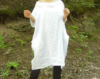 White Linen Collar Dress, Loose Summer Oversized Dress, Flattering Pocket Dress, Plus Size Halter Tunic, Woman Lagenlook Tunic Tunic
