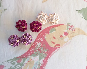 Earrings earrings, rosebuds and glitter, Flower Earrings, small earrings, pink earrings, earrings, earrings