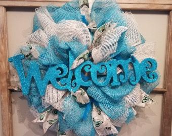 Blue Welcome Wreath