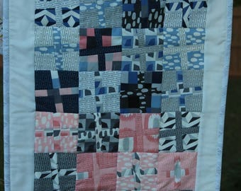 Handmade Quilted Table Runner, Geometric, Blues, Grey and Coral Color