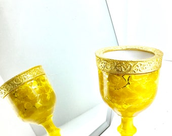 Vintage Candleholder-Hollywood Glam-Toujours Moi Perfume- 60's MOD French Candle Gold Goblet