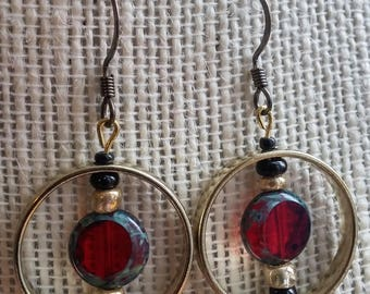 eliptical love earrings, golden hoop