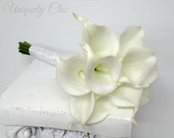 Wedding bouquet, White calla lily bridesmaid bouquet, Real touch Wedding flowers
