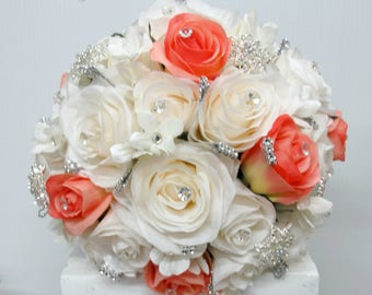 Wedding bouquet - Broach bouquet, White and coral rose bouquet, Bling bouquet, Silk wedding bouquet