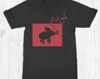 Musical Elephant T-shirt - Elephant Tee for Men - Music Note T-shirt - Music Lover Gift - Festival Shirt