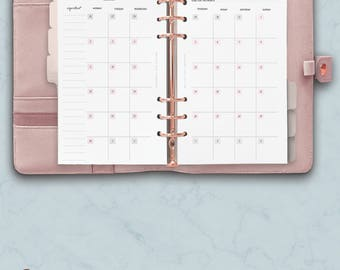 PRINTED Personal Planner Inserts, Monthly Planner 2018, Month at a Glance Inserts, Month on two pages, Printed Kate Spade Planner Refill