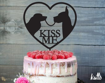 Kiss Me Cake Topper, Silhouette Dogs kissing Cake Topper, Kiss Me Cake Topper, Personalized Cake Topper, Wedding Cake Topper, Cake toppers