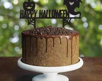 Happy Halloween Cake Topper, ghost cake topper, happy pumpkin party, halloween night, fun halloween party, halloween kids party
