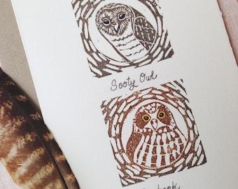 Australian Owls Block Print / Sooty Owl / Boobook / Lino print / Handmade / Hand Printed /Australian