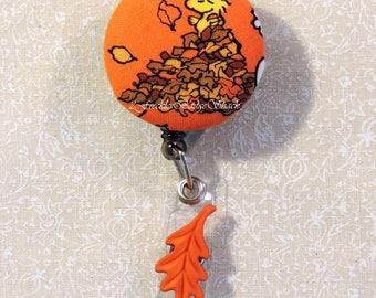 Woodstock playing in the leaves badge reel, Snoopy & Friends Badge Reel, Autumn/Fall Badge Reel, Thanksgiving Badge Reel, ID Badge Holder