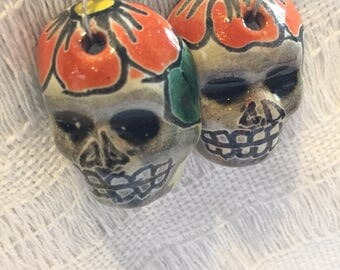 Day of the Dead Skull Earrings: Halloween, earrings, wearable, Flowers, Skull