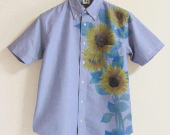 Men's Blue button down shirt Oxford  Sunflower hand paint Japan Short sleeve