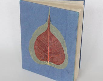 Eco-Friendly Handmade Lokta Bark Paper Journal | Blue Leaves Natural Notebook | Unique Sustainable Hard Cover Diary Nepal | Fair Trade
