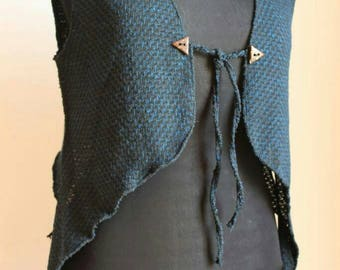 Mandala vest blue, black, handmade crochet mandala, fairy clothing, Pixie, festival enchanted, unique, Jersey