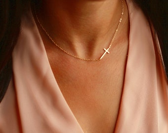 Sideways CROSS Necklace GOLD | Sideways Cross | Gold Sideways Necklace | Side Cross Necklace Gift | Gold Side Cross - Layered Luxe Jewelry