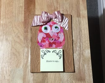 Fabric Owl Post It Note/Sticky Notes/Message Pad Holder - Wood Look/Decorative/Gift/Wall mountable/Magnetic/3D