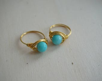 Handmade gold plated copper ring with amazonite, gemstone ring, gold ring, copper ring, turquoise ring
