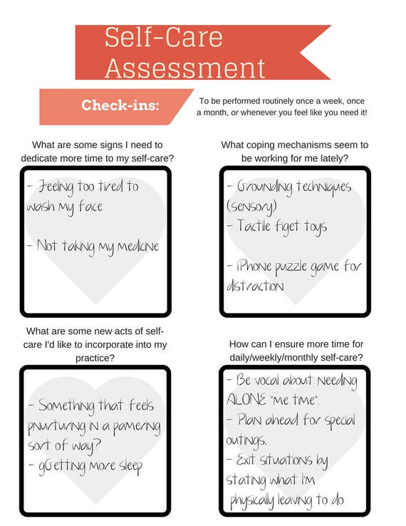 Self Care Assessment Worksheet Printable Instant Download