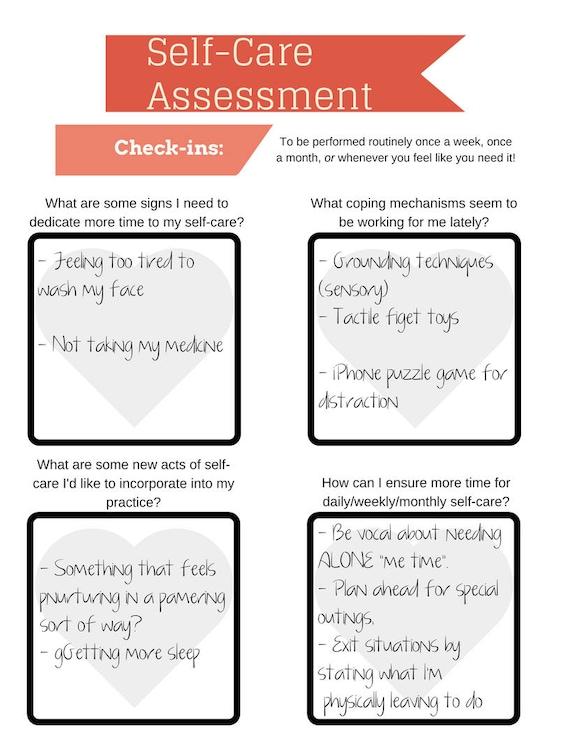 Self Care Assessment Worksheet (PRINTABLE   INSTANT DOWNLOAD): Self Care U2022  Radical Self Love U2022 Wellness U2022 Self Love U2022 Mental Health Planner Photo