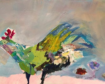 Chicken or Eggs.  Chicken painting, green and turquoise chicken against lilac sky.  bright colors red pink blue green, fun