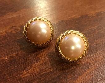 Vintage Richelieu Faux Pear Earrings, Gold Tone